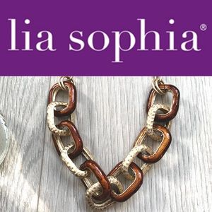 Lia Sophia- Gold Kiam Family Enamel Link Necklace